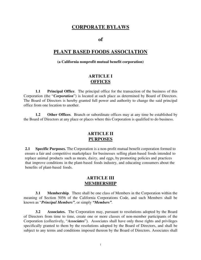 9+ Corporate Bylaws Templates - Pdf | Free & Premium Templates With Corporate Bylaws Template Word