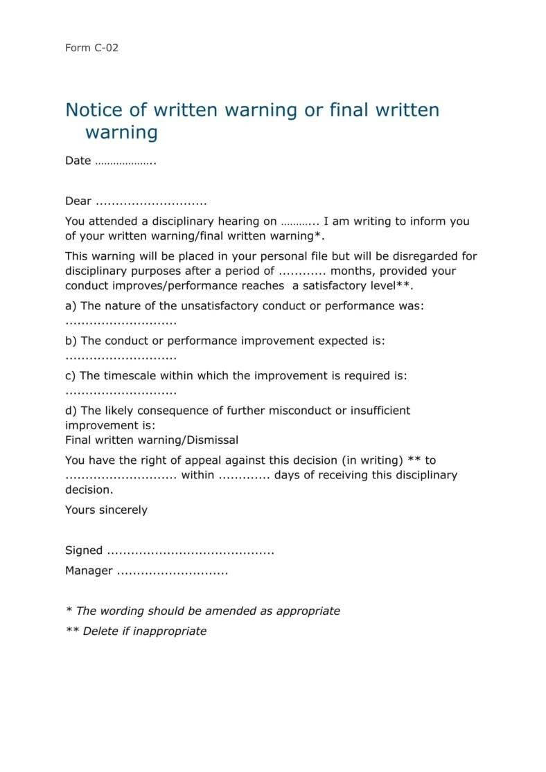 9+ Disciplinary Warning Letters – Free Samples, Examples In Investigation Report Template Disciplinary Hearing