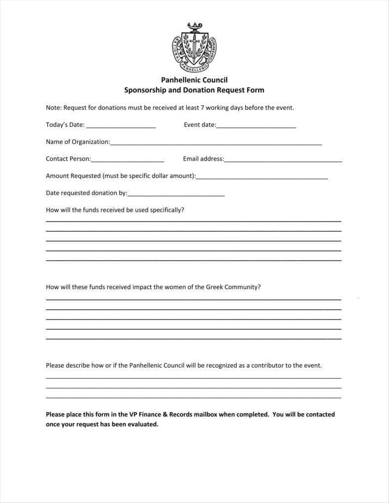 9+ Donation Application Form Templates Free Pdf Format With Blank Sponsor Form Template Free