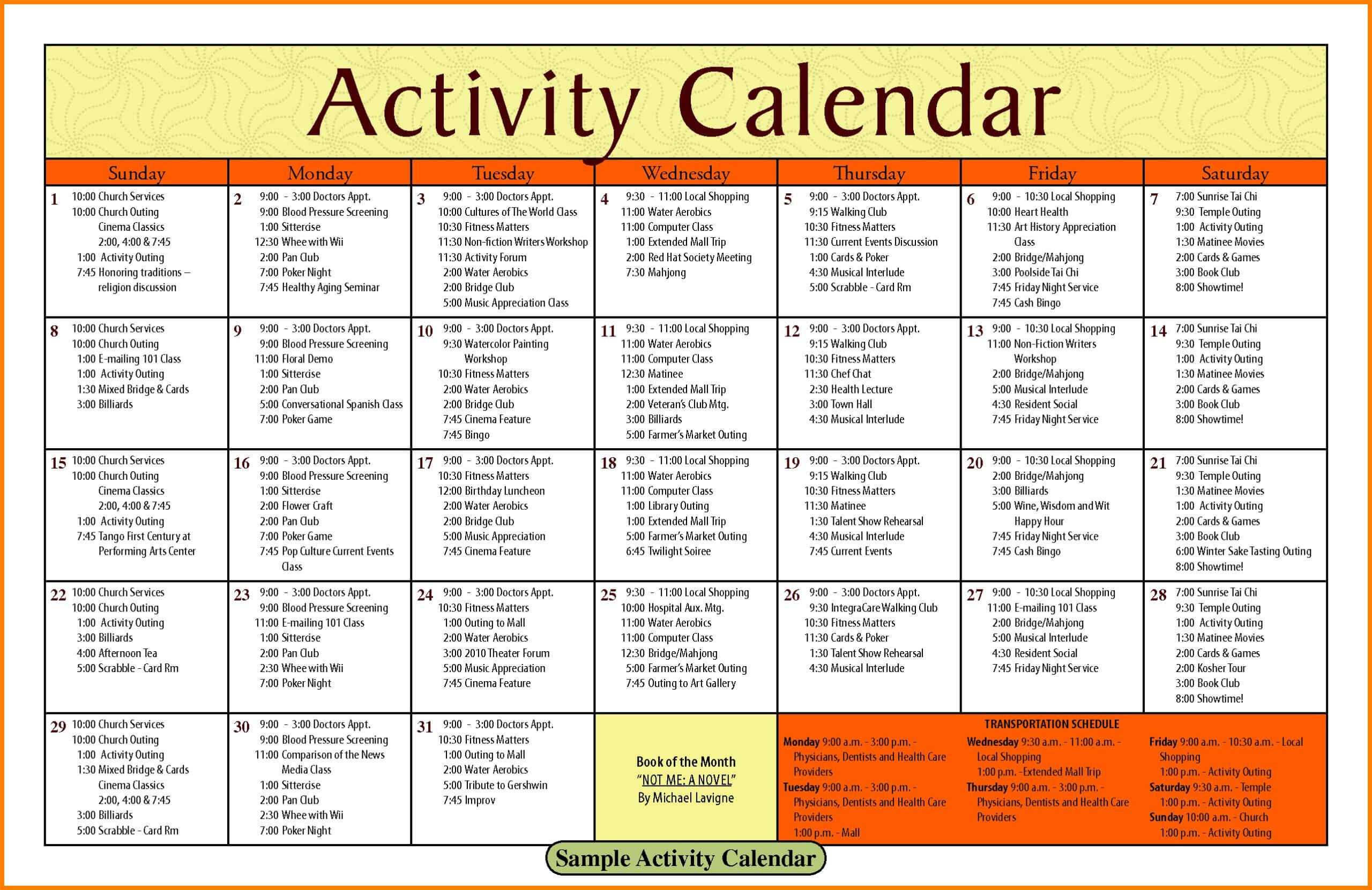 Activity Calendar Template – Printable Week Calendar Intended For Blank Activity Calendar Template