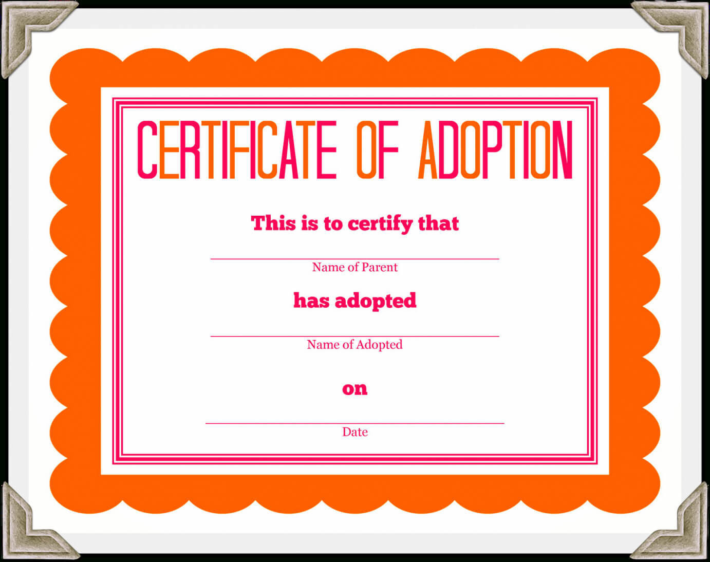 Adoption Certificate Template – Certificate Templates With Regard To Blank Adoption Certificate Template