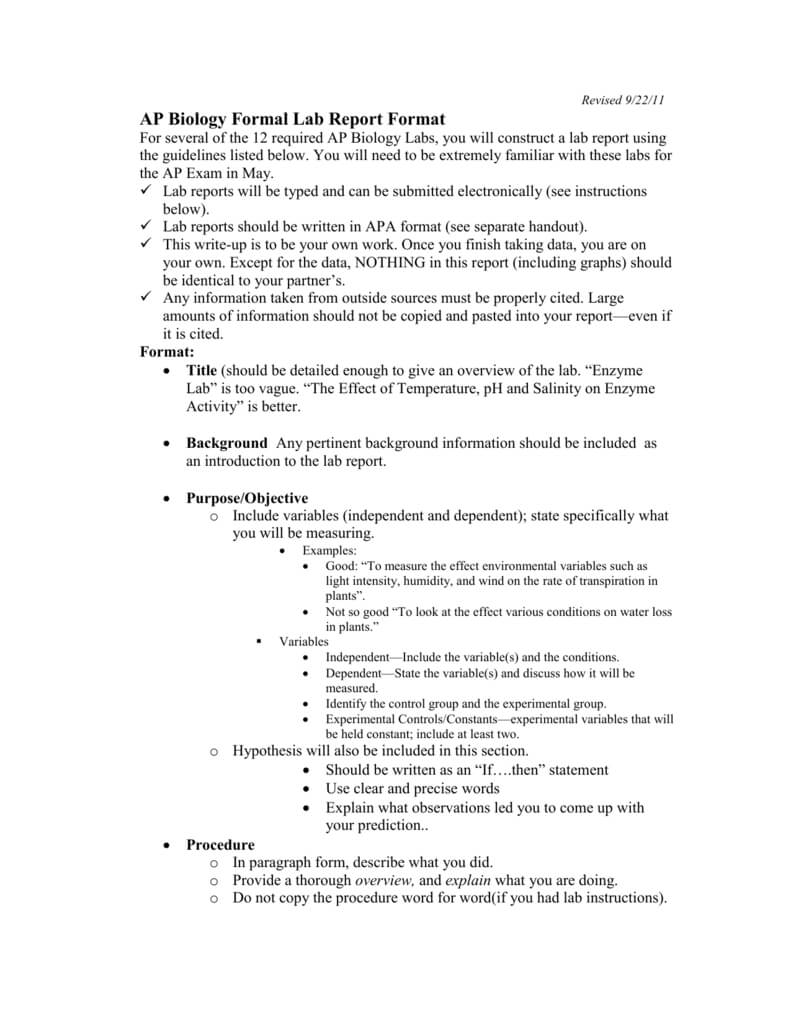Ap Biology Formal Lab Report Format Inside Formal Lab Report Template