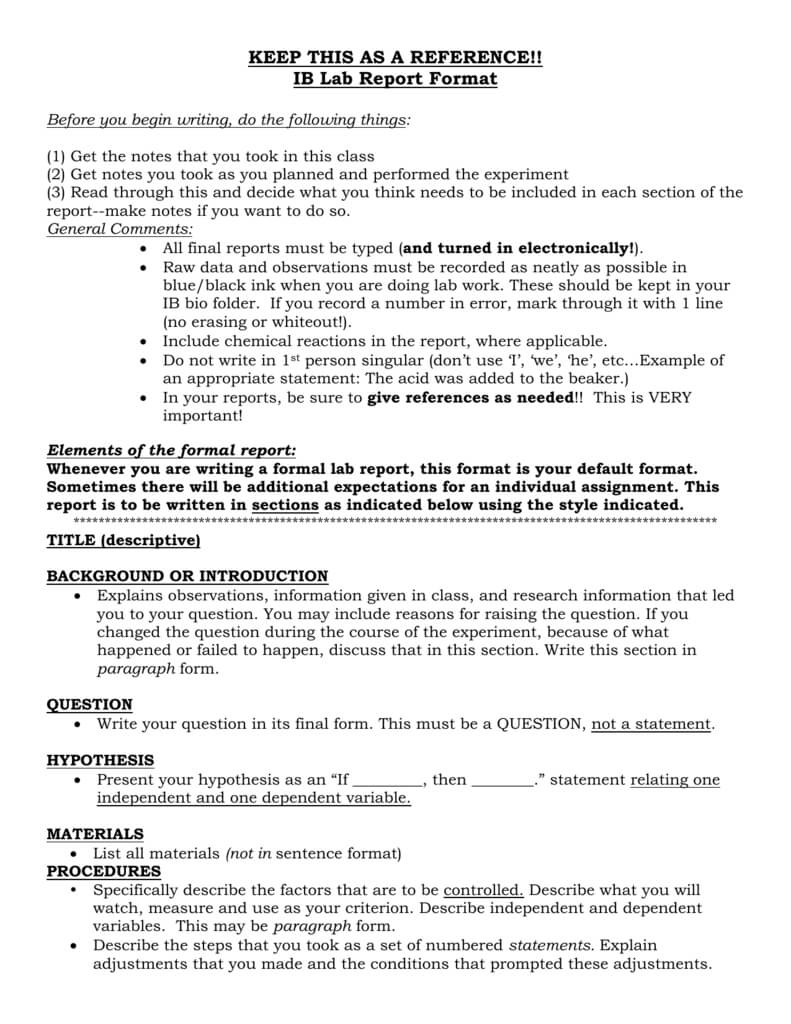 Ap/ib Lab Report Format Within Ib Lab Report Template