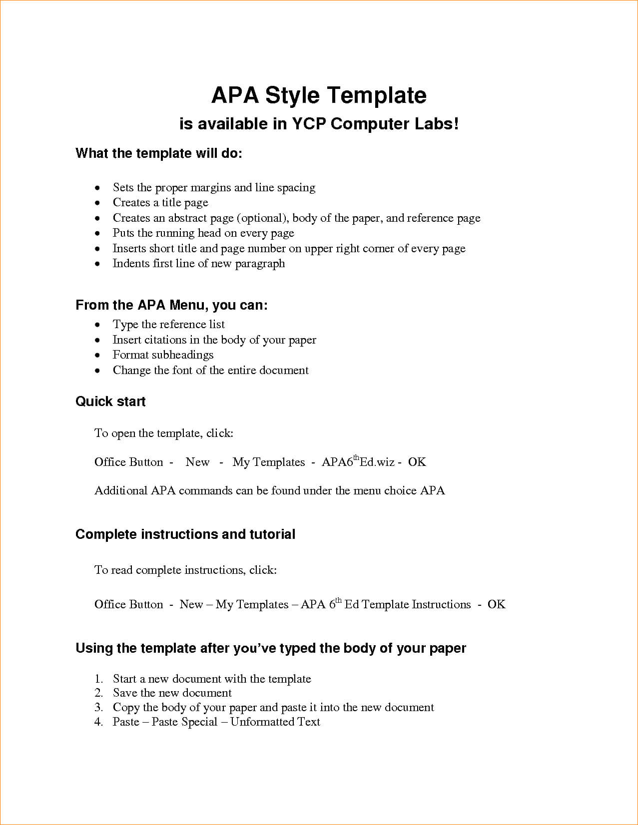 Apa Outline Format Microsoft Word – Colona.rsd7 Within Apa Template For Word 2010