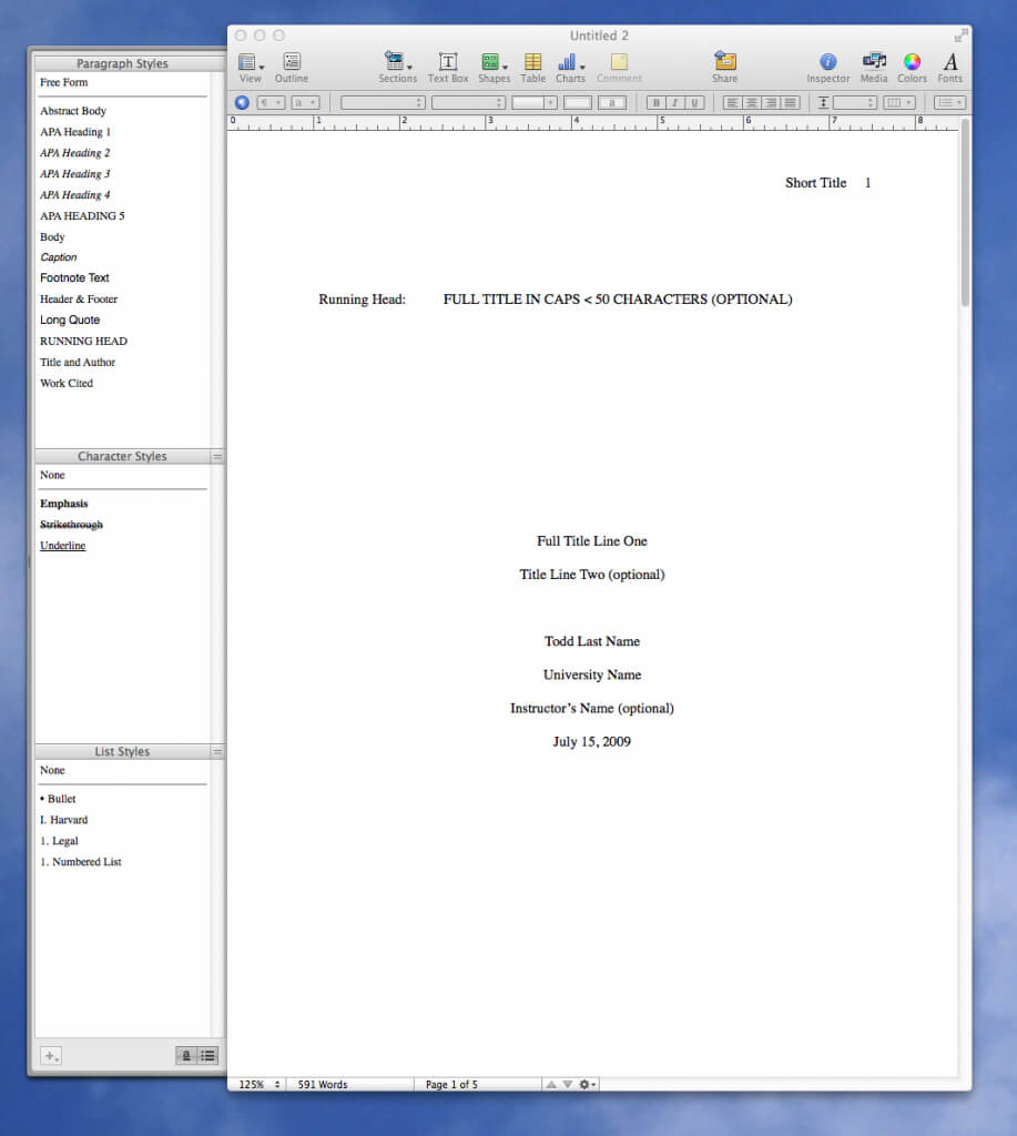 Apple Still Doesn't Have An Apa Template For Pages? - I Inside Apa Format Template Word 2013