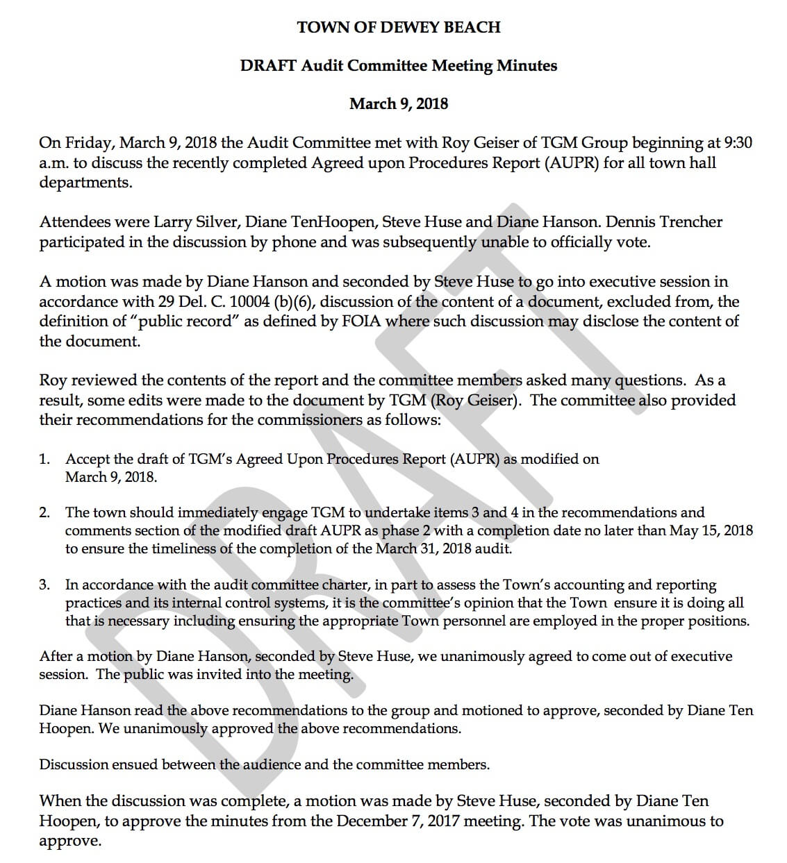 Audit Committee Recommendations Re: Agreed Upon Procedures For Agreed Upon Procedures Report Template