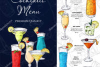 Bar Menu Design. Template For Cocktail Drinks. Brochure With for Cocktail Menu Template Word Free