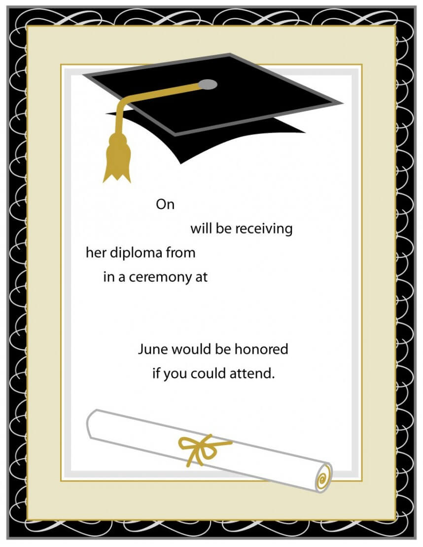 Best Graduation Invitation Templates Microsoft Word Template Intended For Graduation Invitation Templates Microsoft Word