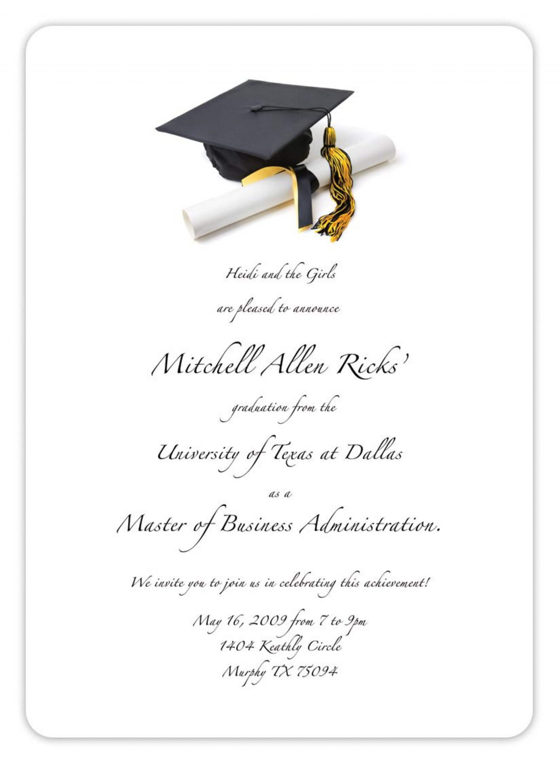Best Graduation Invitation Templates Microsoft Word Template Within Graduation Invitation Templates Microsoft Word