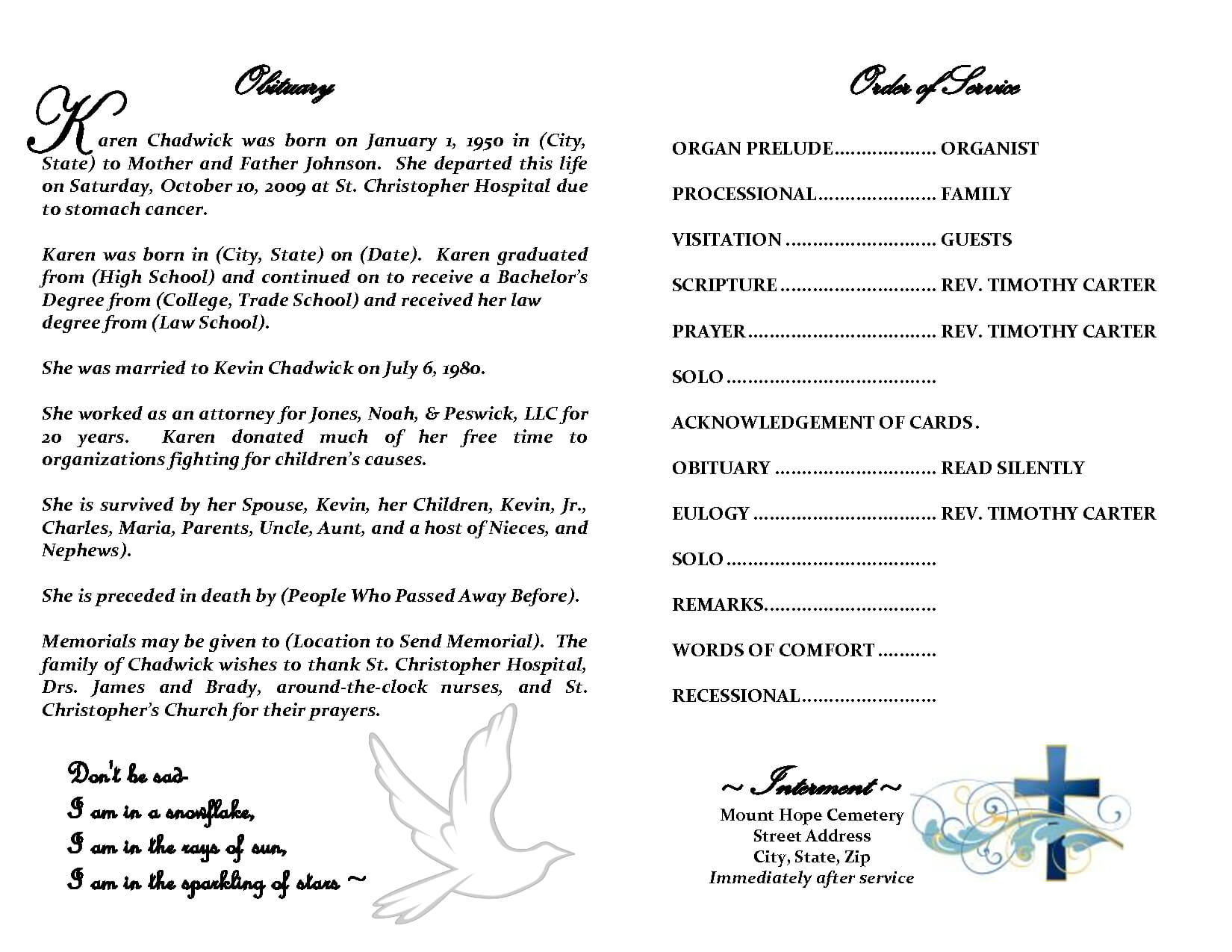 Best Photos Of Sample Obituary Funeral Program Templates Regarding Free Obituary Template For Microsoft Word
