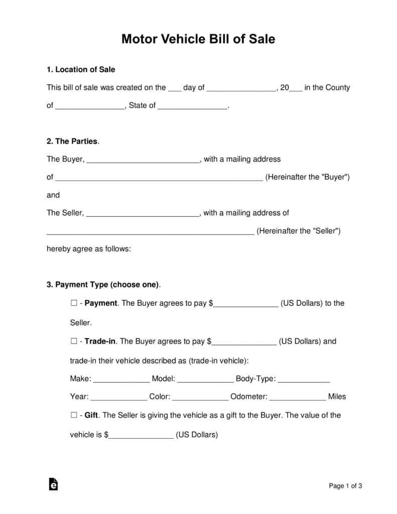 Bill Of Sale Form Auto - Tunu.redmini.co With Regard To Vehicle Bill Of Sale Template Word