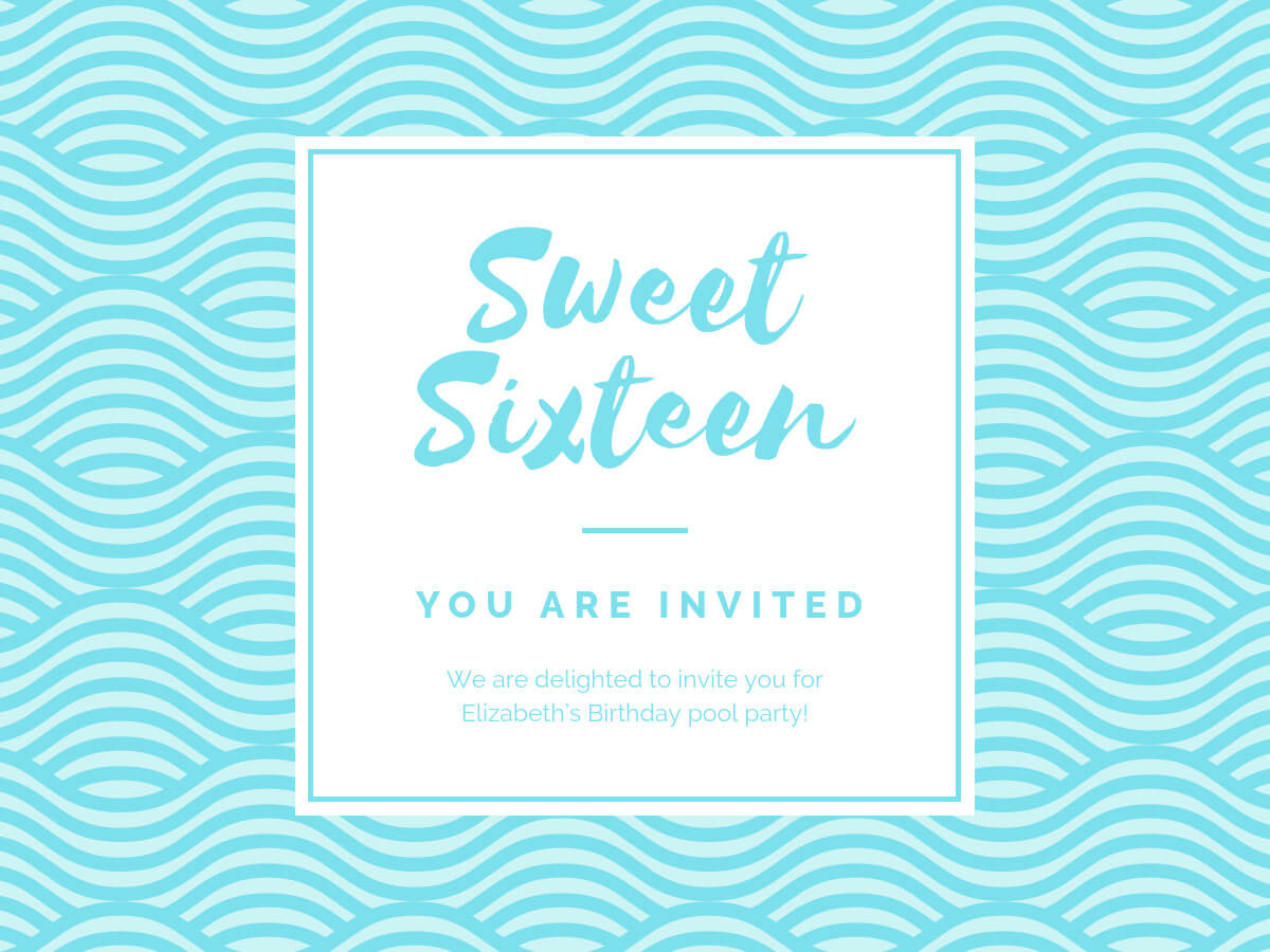 Birthday Party Invitation - Banner Template Pertaining To Sweet 16 Banner Template