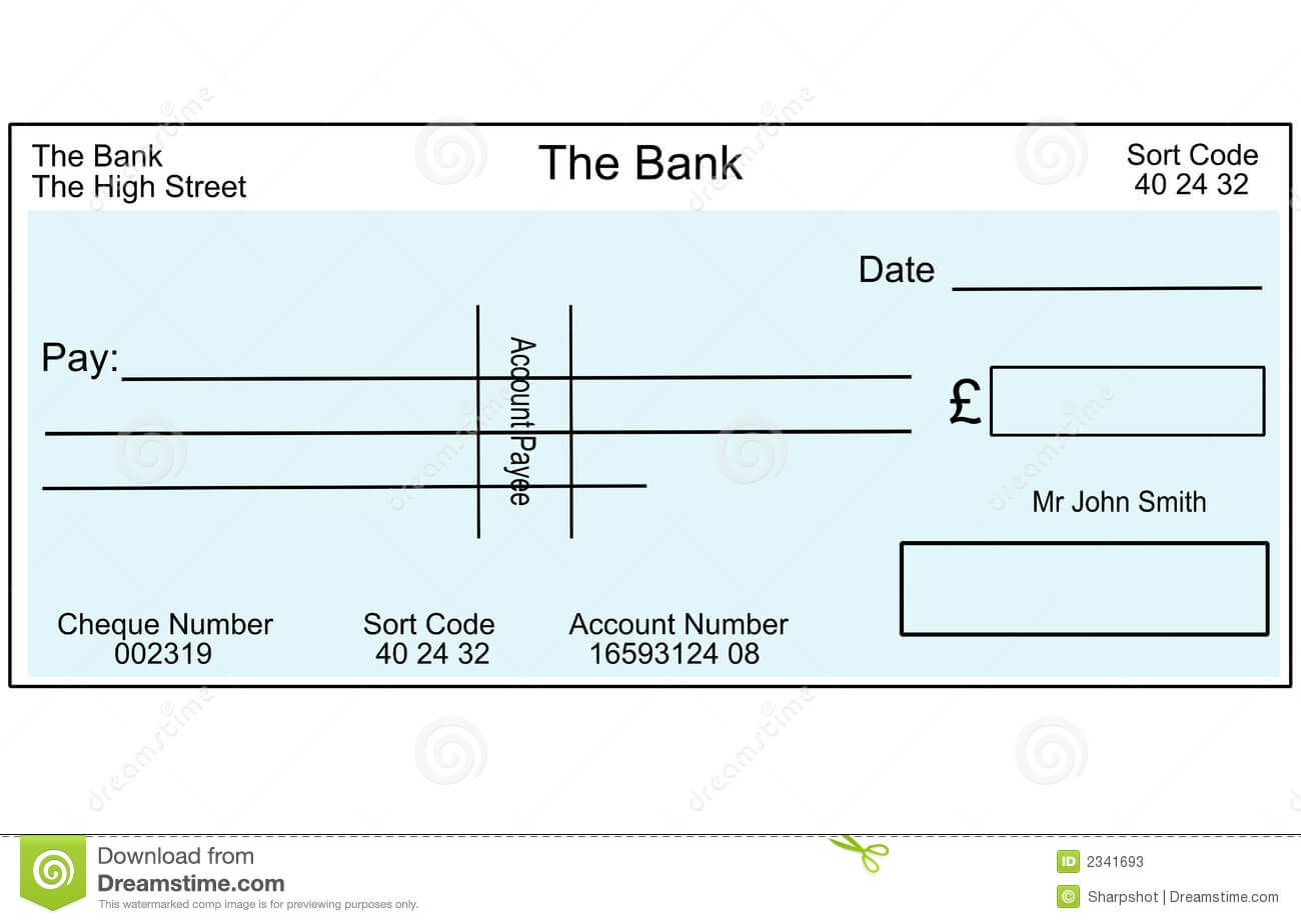 Blank British Cheque Stock Illustration. Illustration Of Inside Blank Cheque Template Uk
