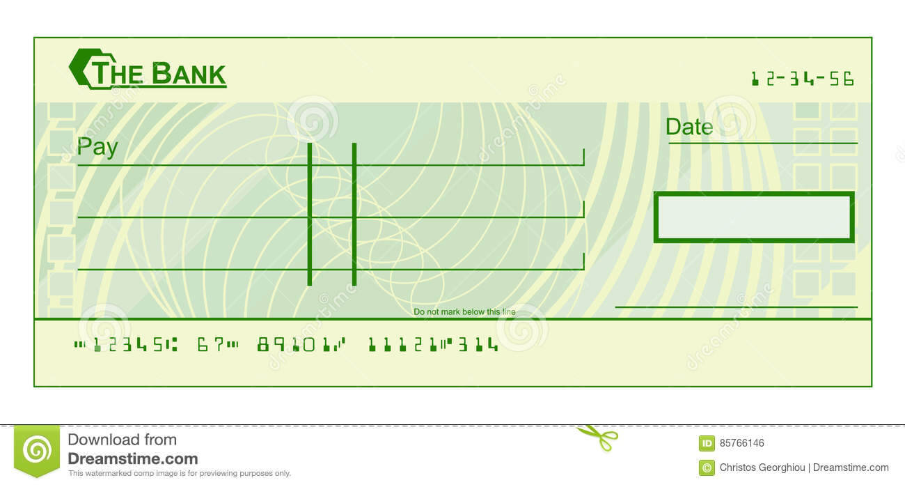 Blank Cheque Stock Vector. Illustration Of Document, Cheque For Blank Cheque Template Download Free