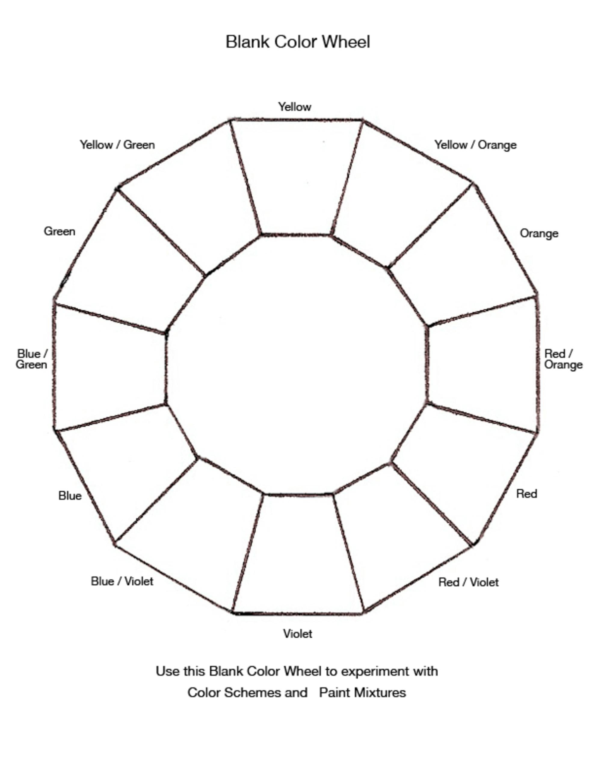 Blank Color Wheel Chart | Templates At Allbusinesstemplates Inside Blank Color Wheel Template