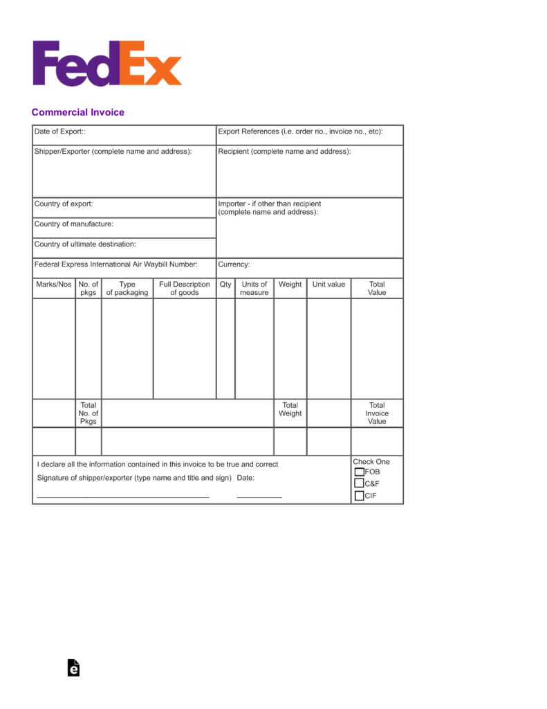 Blank Commercial Invoice – Colona.rsd7 With Commercial Invoice Template Word Doc