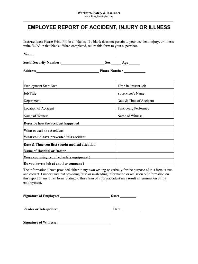 Blank Incident And Injury Report Pdf - Fill Online Pertaining To Injury Report Form Template