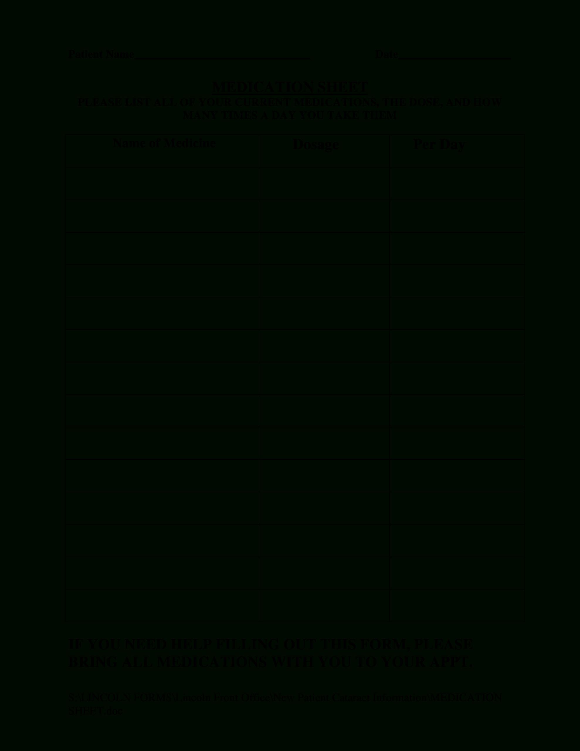 Blank Medication   Templates At Allbusinesstemplates For Blank Medication List Templates