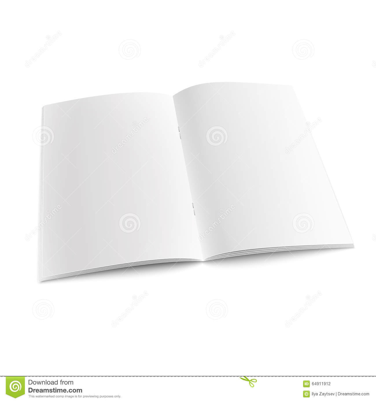 Blank Open Magazine Template With Staples. Stock Vector In Staples Banner Template