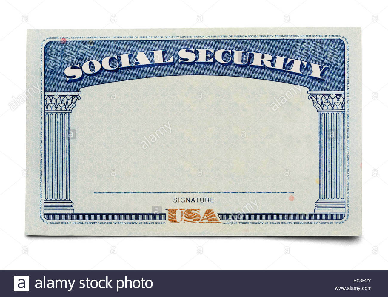 Blank Social Security Card Isolated On A White Background Inside Blank Social Security Card Template