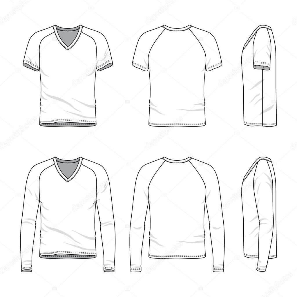 Blank V Neck T Shirt And Tee. — Stock Vector © Aunaauna2012 Throughout Blank V Neck T Shirt Template