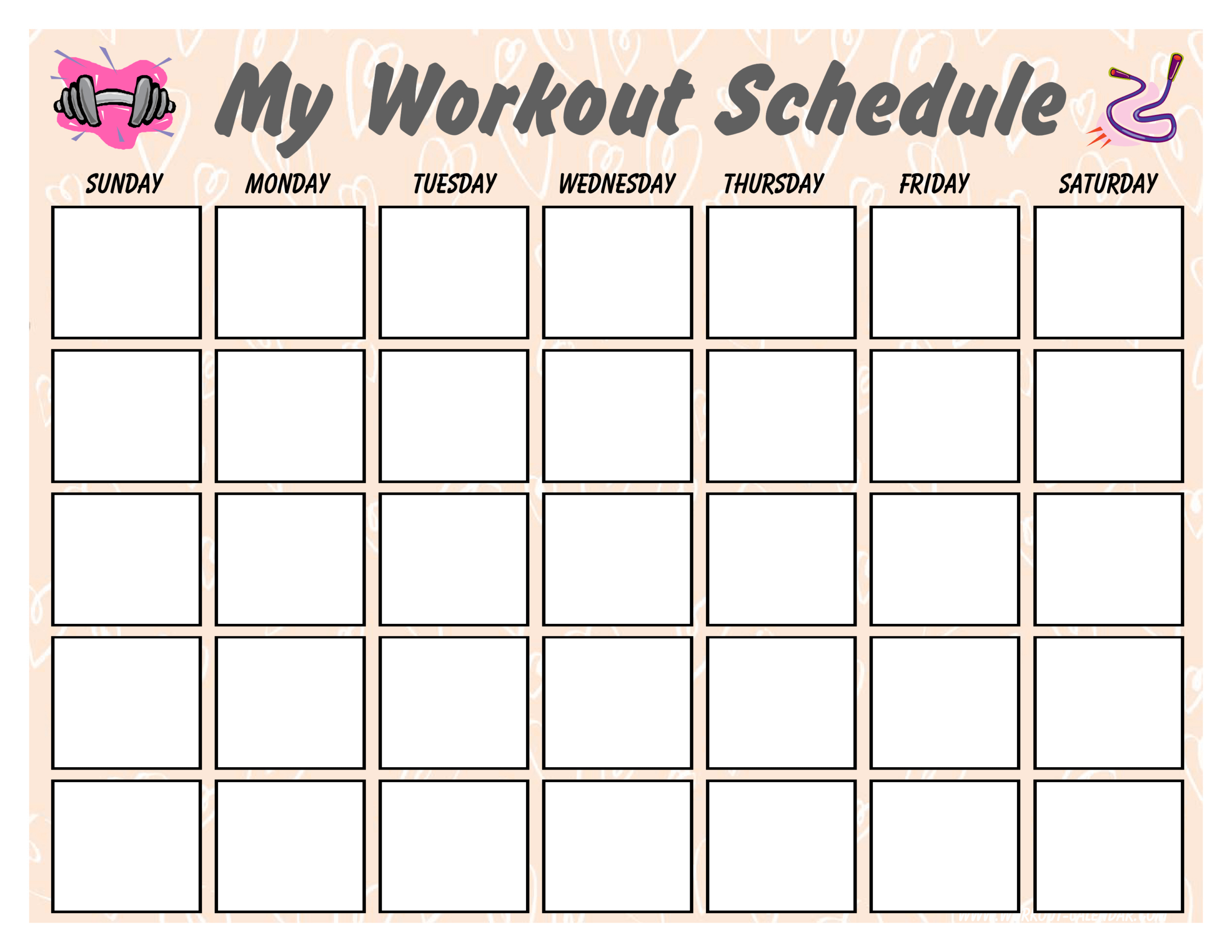 Blank Workout Schedule For Women | Templates At Within Blank Workout Schedule Template