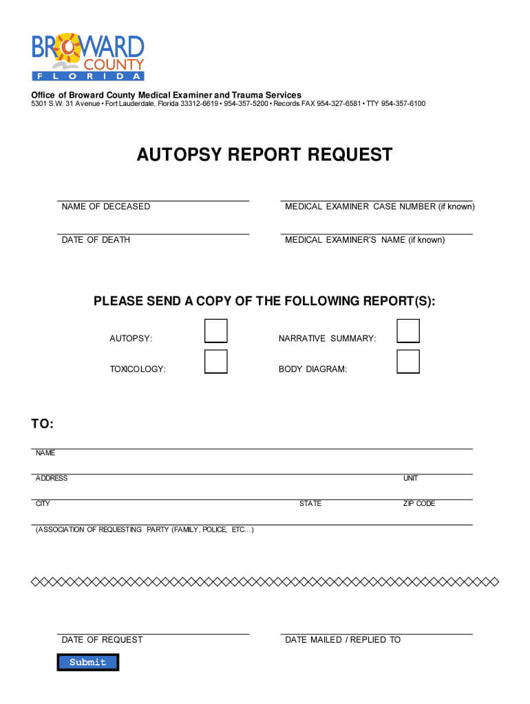 Broward County Autopsy Report – Fill Online, Printable With Regard To Blank Autopsy Report Template