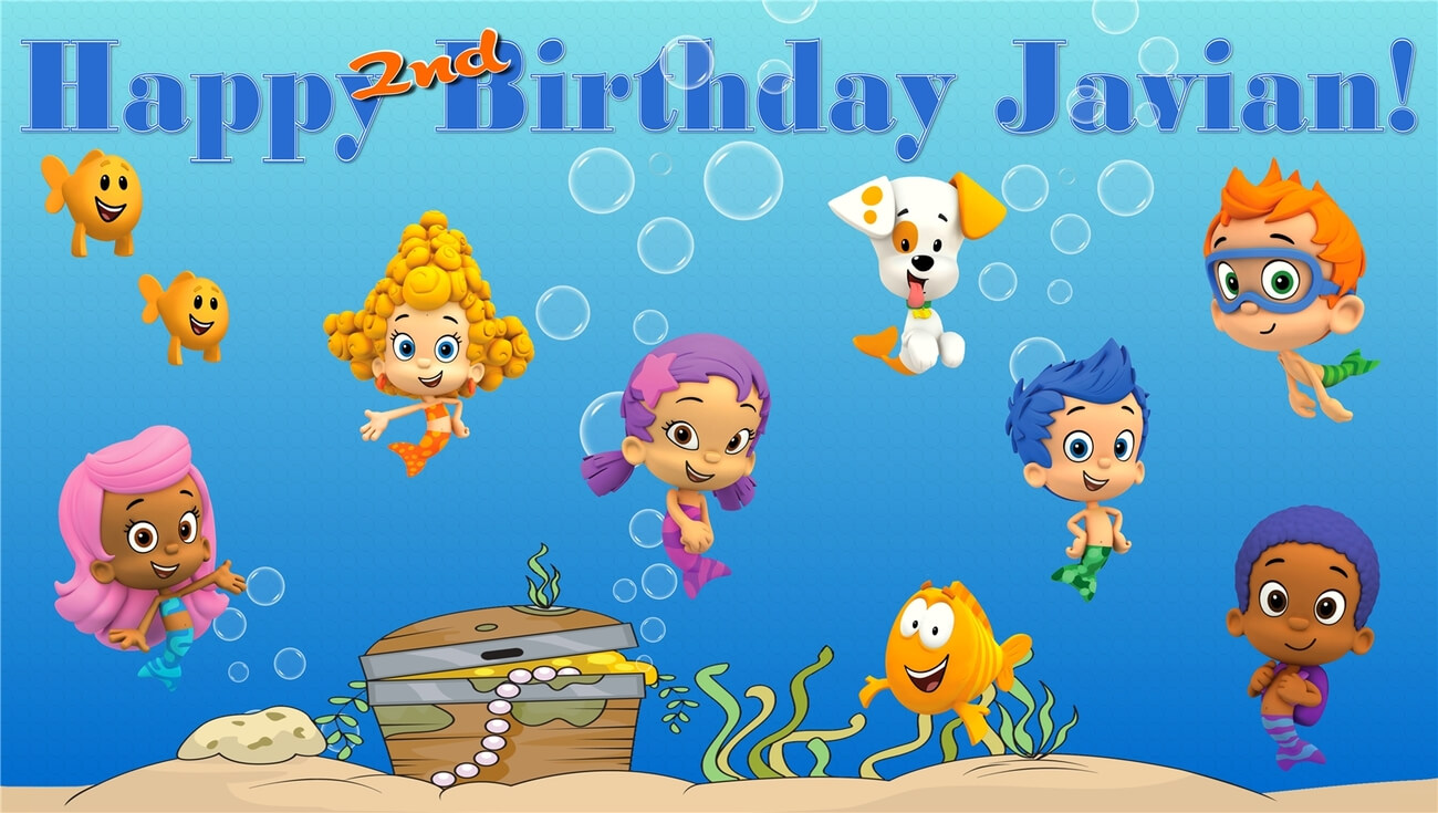 Bubble Guppies  Custom  Personalized Vinyl And 50 Similar Items Pertaining To Bubble Guppies Birthday Banner Template