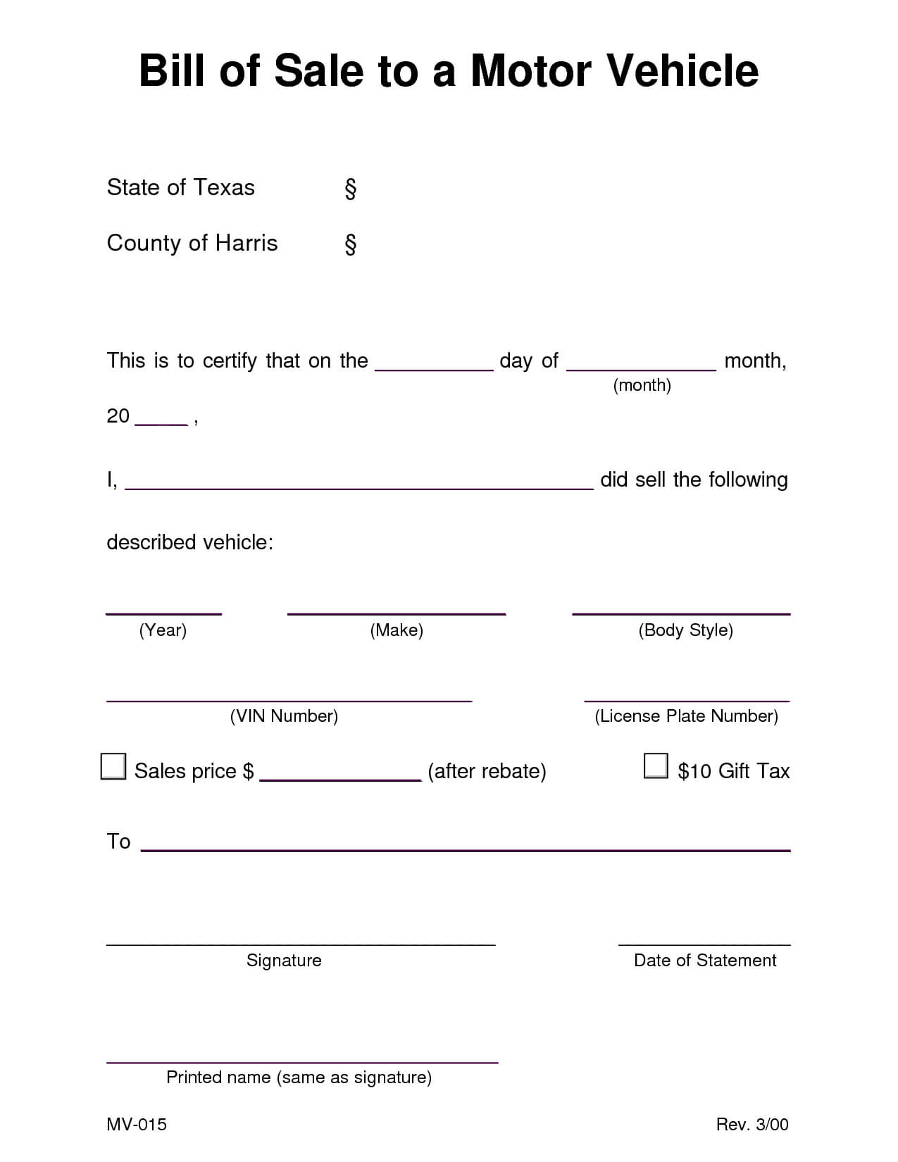 Car Bill Of Sale Texas 470581 Examples Vehicle Ate Word With Car Bill Of Sale Word Template