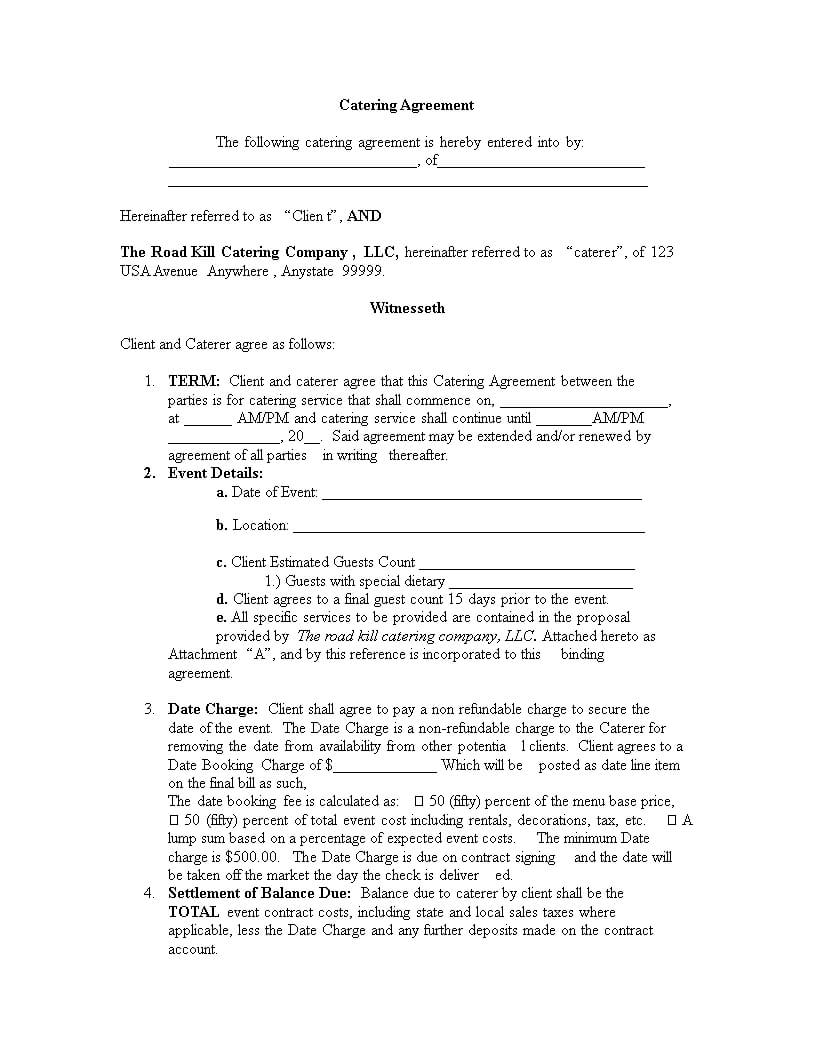 Catering Contract Template   Templates At Throughout Catering Contract Template Word