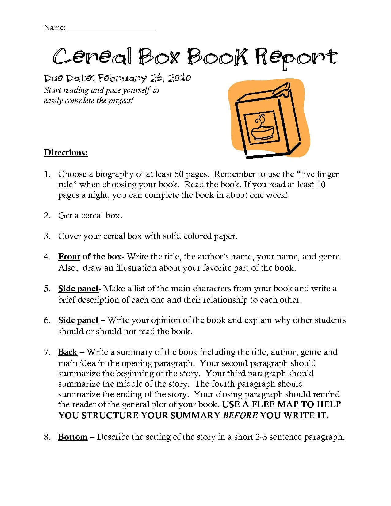 Cereal Box Biography Template Within Cereal Box Book Report Template