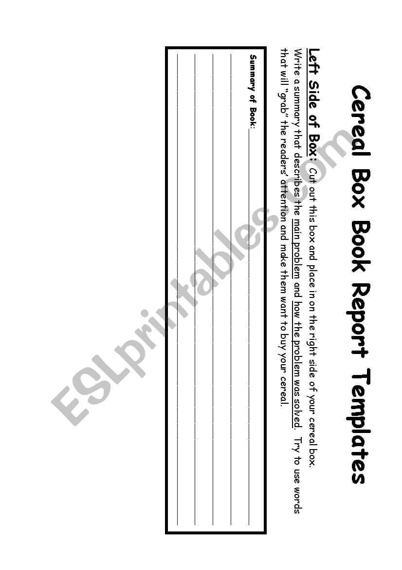Cereal Box Book Report – Esl Worksheetalmodlin For Cereal Box Book Report Template