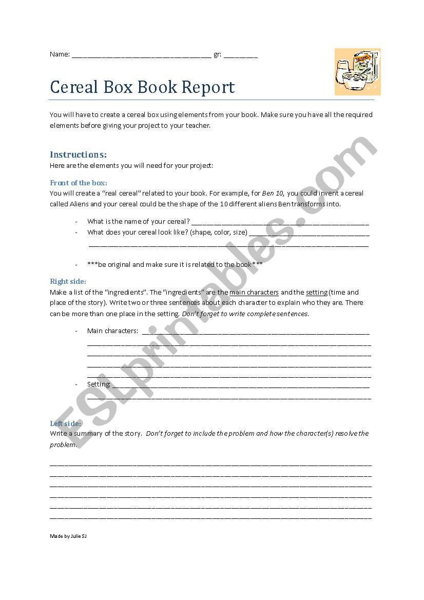 Cereal Box Book Report Project – Esl Worksheetcurlyju For Cereal Box Book Report Template
