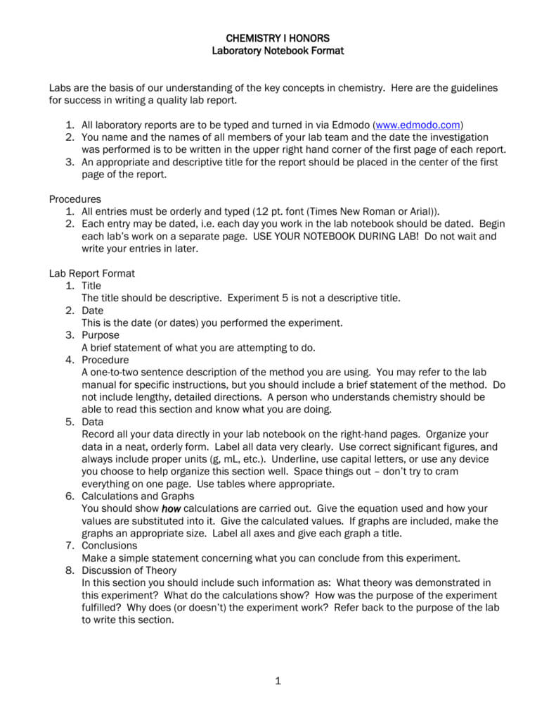 Chemistry I Honors Lab Report Format For Lab Report Template Chemistry