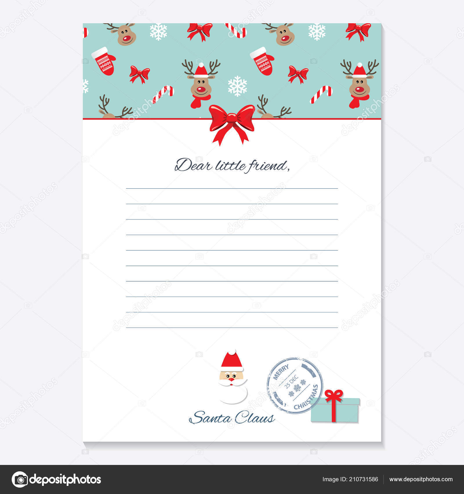 Christmas Letter From Santa Claus Template. — Stock Vector Within Blank Letter From Santa Template