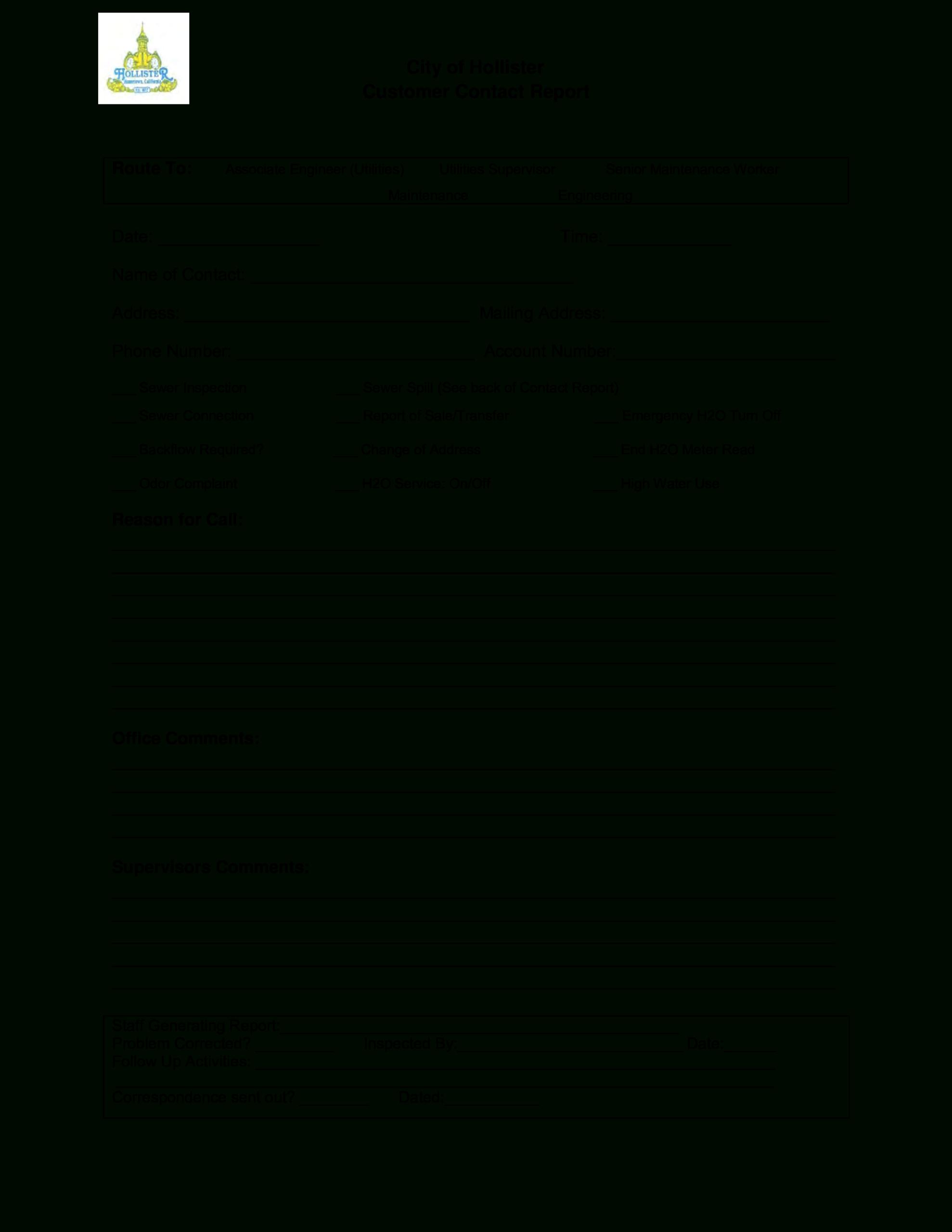City Customer Contact Report | Templates At Within Customer Contact Report Template