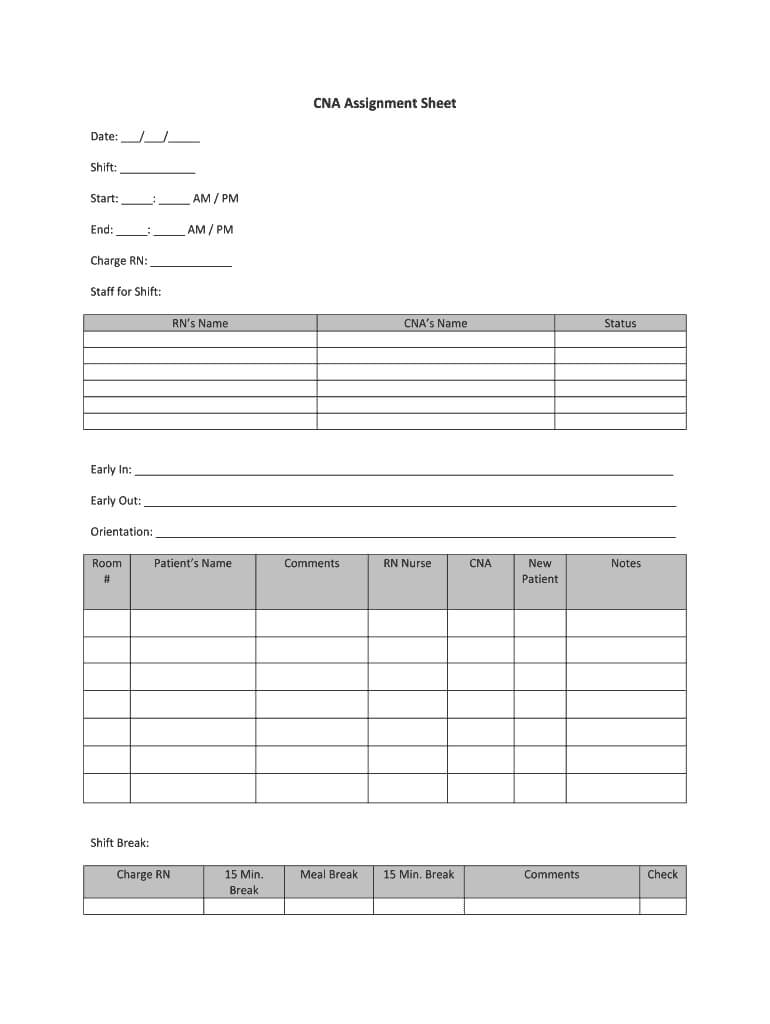 Cna Assignment Sheet – Fill Online, Printable, Fillable With Charge Nurse Report Sheet Template