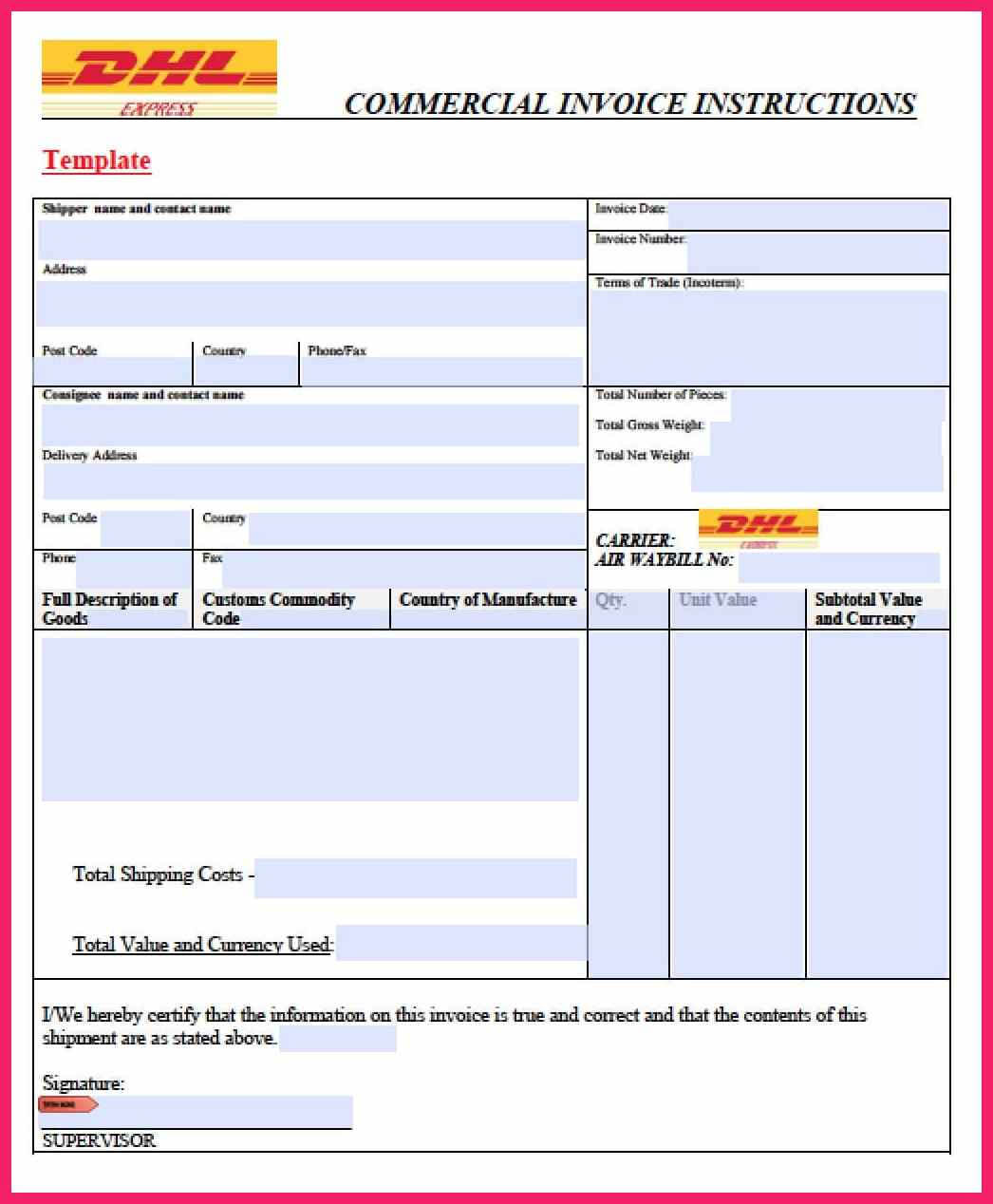 Commercial Invoice Template | Bio Letter Format With Commercial Invoice Template Word Doc