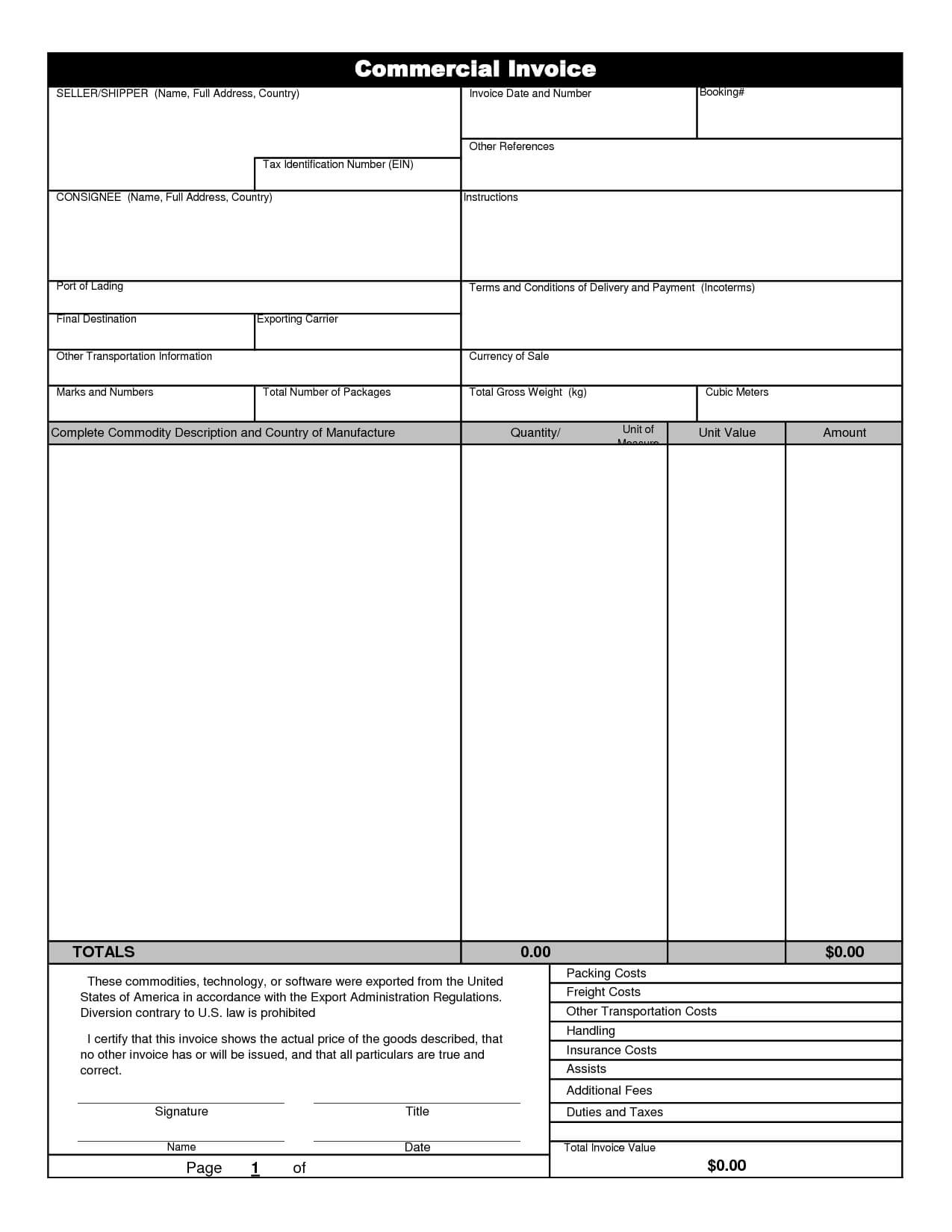 Commercial Invoice Template Excel | Invoice Example With Regard To Commercial Invoice Template Word Doc