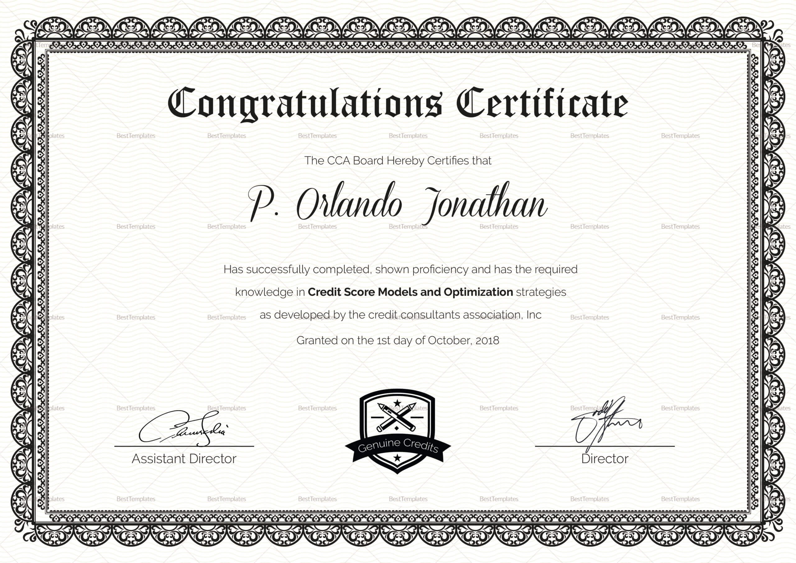 Congratulations Certificate Template In Congratulations Certificate Word Template