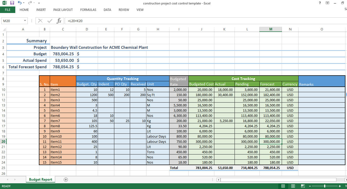 Construction Project Cost Control – Excel Template – Workpack With Regard To Construction Cost Report Template