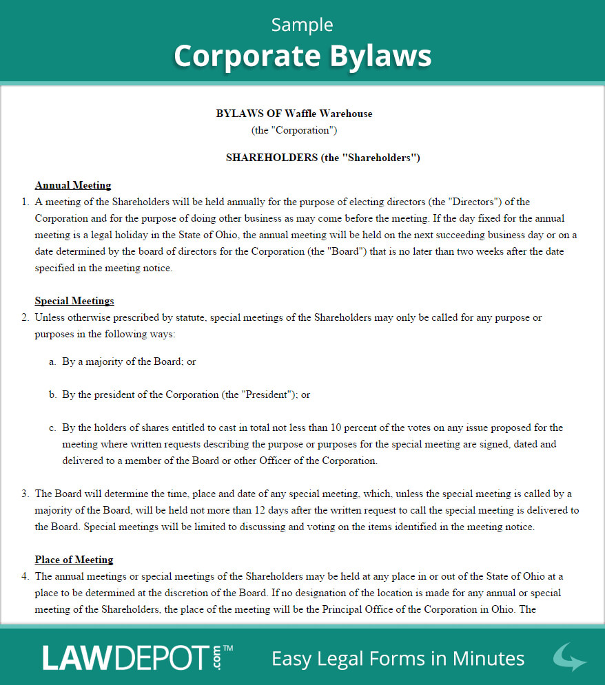 Corporate Bylaws Template (Us)   Lawdepot Throughout Corporate Bylaws Template Word