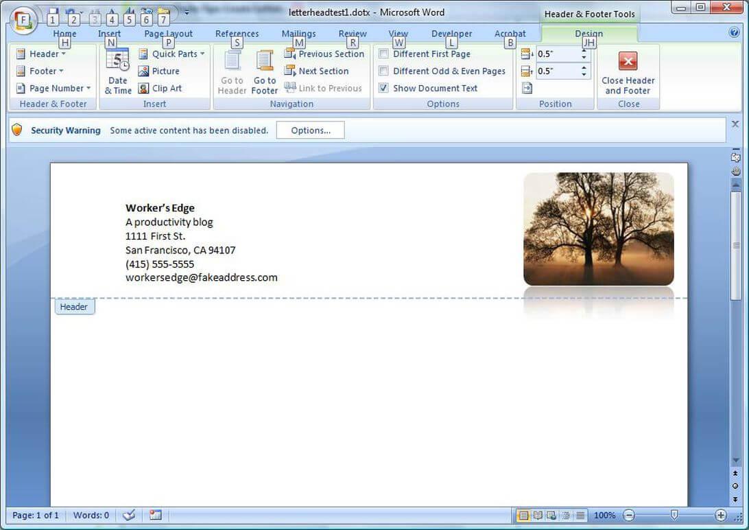 Create A Letterhead Template In Microsoft Word - Cnet Intended For How To Create A Letterhead Template In Word