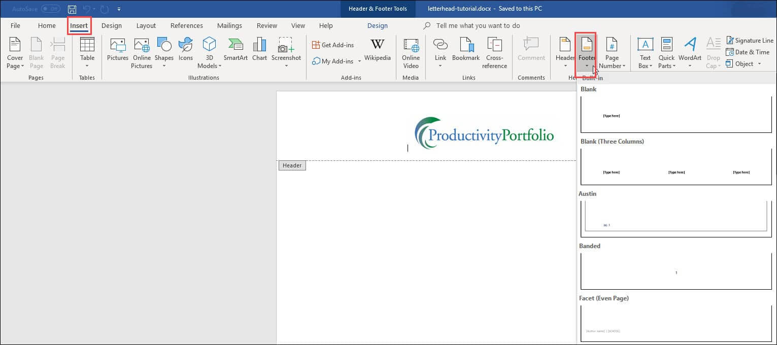 Create A Word Letterhead Template | Productivity Portfolio Within Header Templates For Word