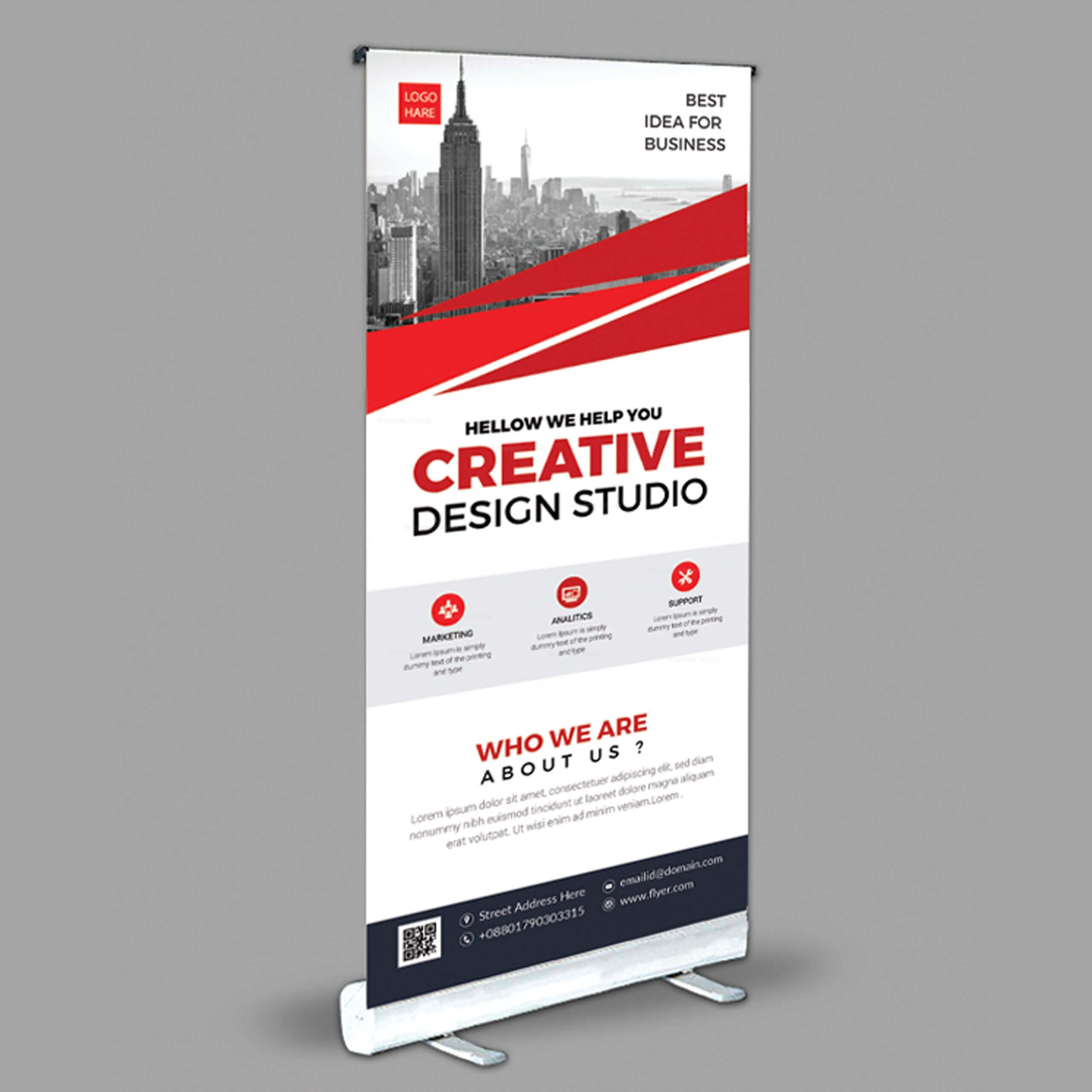 Creative Roll Up Banner Design Template 001971 Within Pop Up Banner Design Template