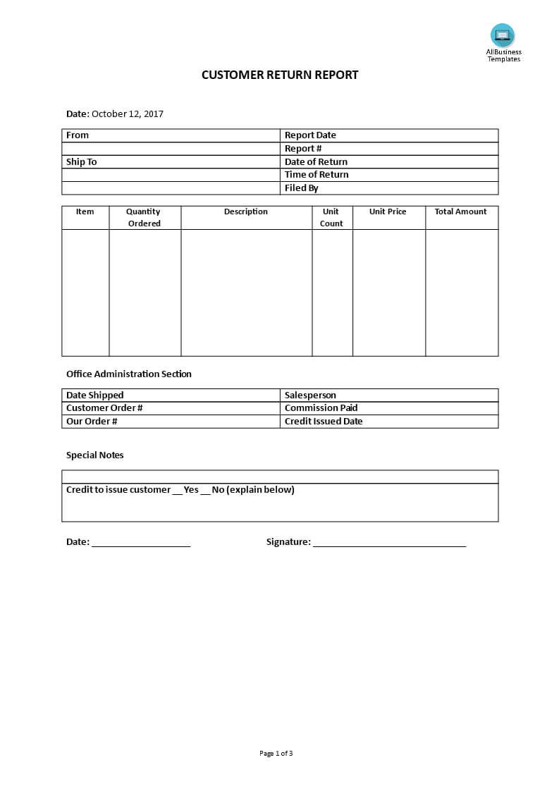 Customer Service – Customer Return Report | Templates At Inside Customer Contact Report Template