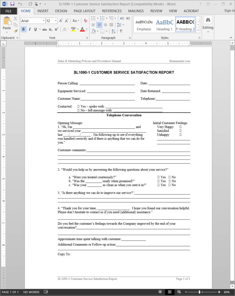 Customer Service Satisfaction Report Template | Sl1090 1 Pertaining To Service Review Report Template