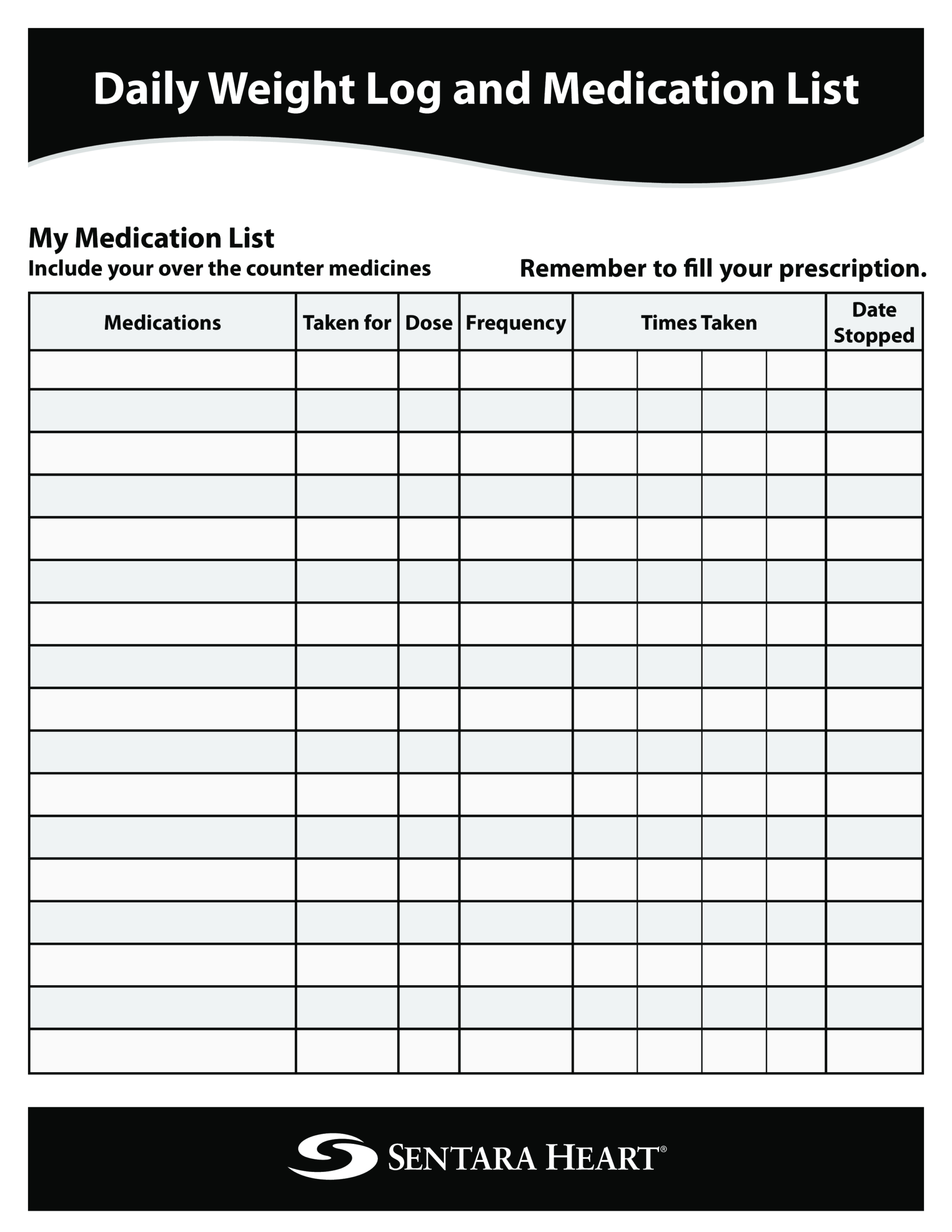 Daily Medication List Printable | Templates At Intended For Blank Medication List Templates
