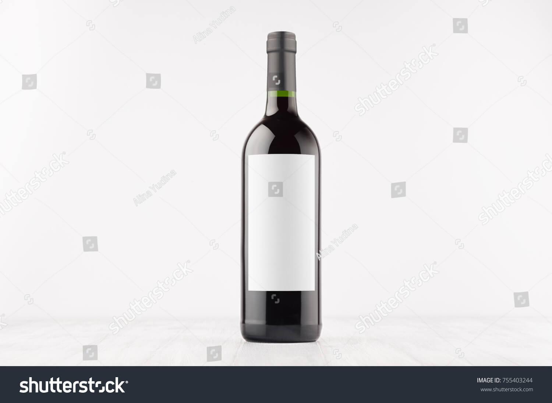 Dark Wine Bottle Blank White Label   Royalty Free Stock Image Within Blank Wine Label Template