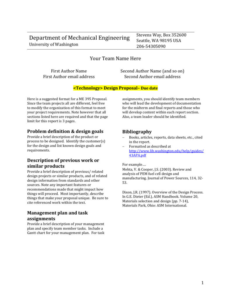 Design Report Template - University Of Washington Intended For Section 7 Report Template